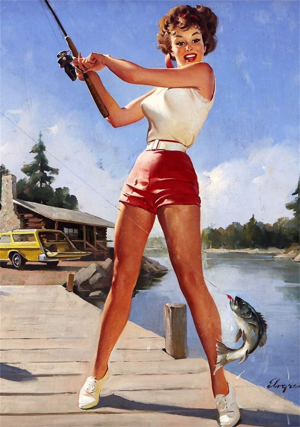 Sexy Fishing Girl Pop Art Pin Up Vintage Poster Classic ...