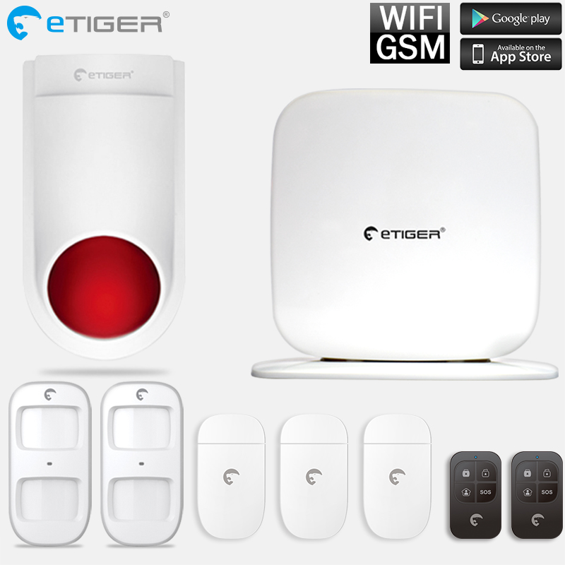 WiFi GSM Alarm System With Outdoor Siren Etiger 433mhz Intruder Burglar Home Security System etiger s3b etiger gsm sms alarm system solar power siren indoor siren ip camera super kit as same as chuango g5
