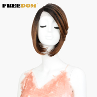 FREEDOM Lace Front Wigs For Black Women Short Straight Dark Roots Red Brown 10 High Temperature Fiber Synthetic Wigs Glueless