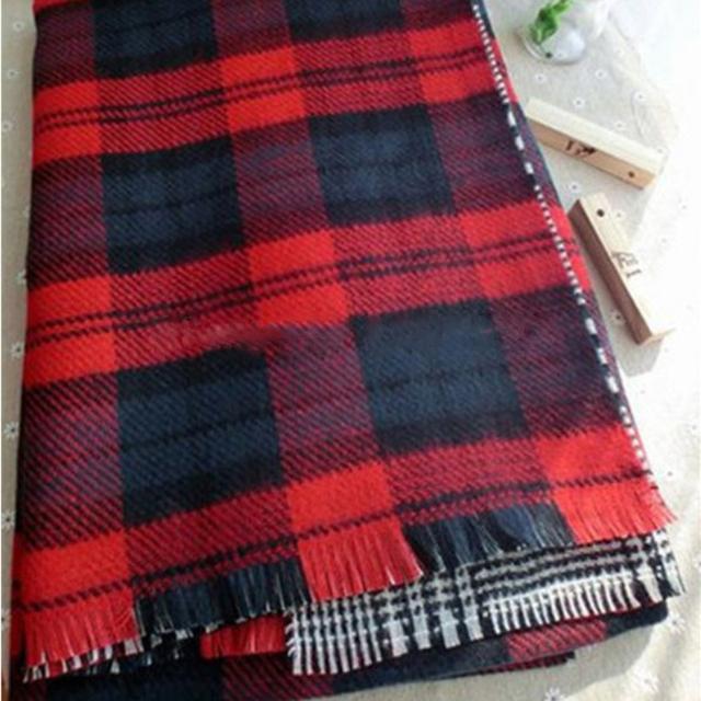Red Black Reversible Plaid Scarf | Blanket Scarves