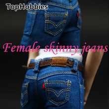 1/6 Scale Female Figure Clothes Women's skinny jeans CF001 A/B/C for 12 Inch PHicen Doll Jiaoudol Action Figure Accessories(China)