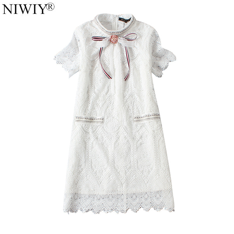 NIWIY Brand Hollow White Lace Dress Women Summer Dress 2019 Vestidos Ukraine Bead Party Dresses Strand Jurkjes Zomer Jurk 8898