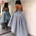 Elegant 2017 Hi-lo Prom Dress Lace Ball Gown Sweetheart Formal Evening Party Gown Sleeveless Beaded African Prom Dress ZY007