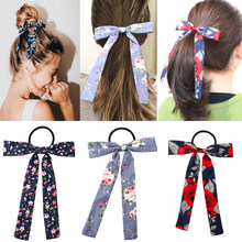 IBOWS Women Floral Print Scrunchies Streamers Scrunchies Ponytail Holder Summer Headbands Elastic Hair Ties for Girls(China)