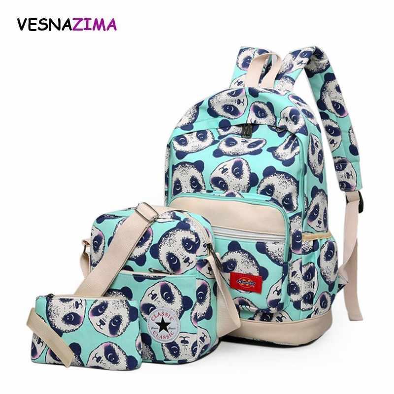 8350573ea4b6 Мультфильм рюкзак набор детей школьная сумка для девочек-подростков с  принтом панды холст рюкзаки 2018