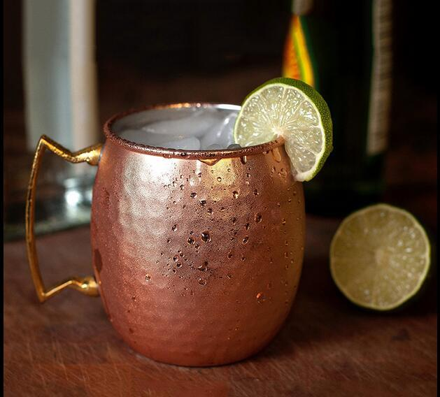 Moscow Mule Mug with Brass Handle,Hammered Copper plating , 18oz  SET OF 2