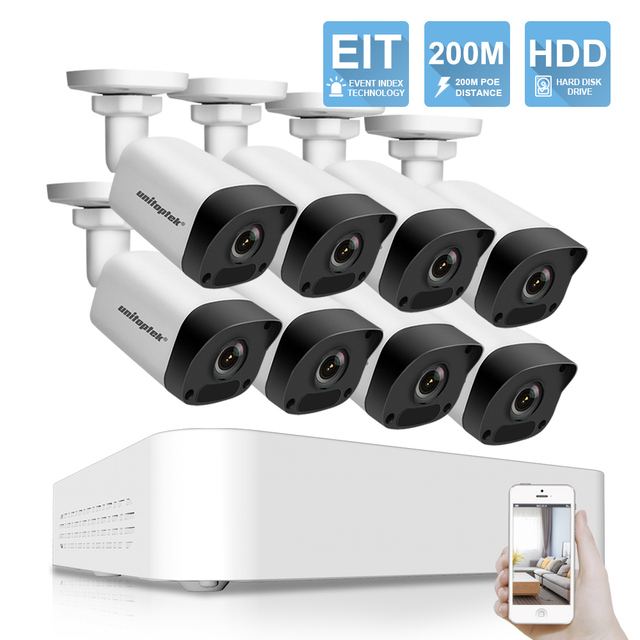 Ultra 265 8CH 1080P POE NVR Kit CCTV Security System 8x 2MP IP Camera Outdoor 200M POE Distance Video Surveillance System P2P