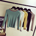 Spring Autumn Fashion Women Short Sweaters  Pullovers Knitted O-Neck casual stretch Long Sleeve Female Tops Good Quality 5 Color