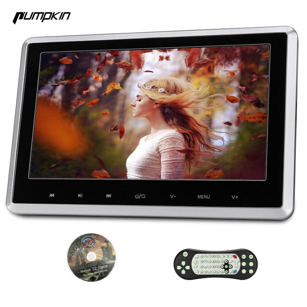 Pumpkin 10 Inch Car DVD Player Headrest HD Digital TFT Screen Car Monitor With Touch Button 1080P Vedio Silver/Black Frame