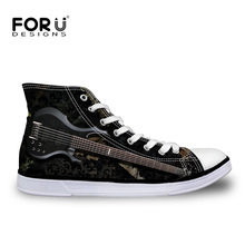 FORUDESIGNS Fashion Guitar Brand Men Shoes Mens High Top Canvas Casual Vulcanized Shoes for Teen Boys Autumn Men's Sneakers 2018