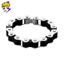 Punk/Rock Biker Mens Bracelet Stainless Steel Link Chain Bracelet Motorcycle Bike Bicycle Chains Bracelets Black Bangles Jewelry(China)