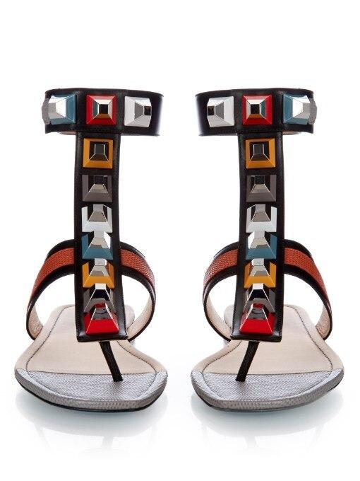 Chaussures Sandales Split Sangle attaché Ceinture D'une Cuir D'été Mujer Show Orteil white Rivets 2018 Black Femmes T orange Sandalias En Boucle Cheville Véritable as fZwE0q