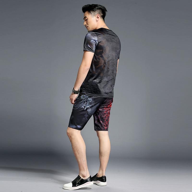 2019 Summer Mens Shorts Set Design Print Men Set 2pcs Fancy Clothing Men Trainingspak Mannen Pullover Shirt short Vetement Homm in Men 39 s Sets from Men 39 s Clothing