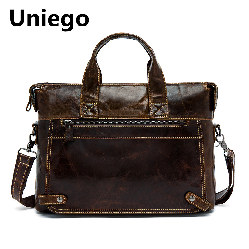 Uniego Fashion Genuine Leather Men Briefcase Male Shoulder Bag Men's Crossbody Messenger Bags High Quality Causal Handbag HB133