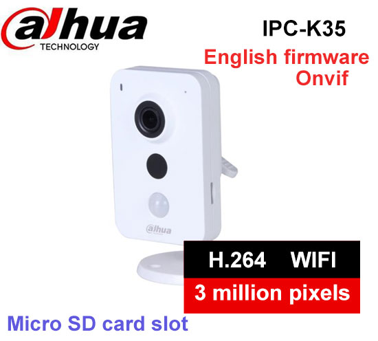 Dahua 3MP Wi-Fi PT Camera IPC-K35 Wireless Network Camera Easy4ip cloud support Sd card up to 128G Built-in Mic free shipping цены онлайн