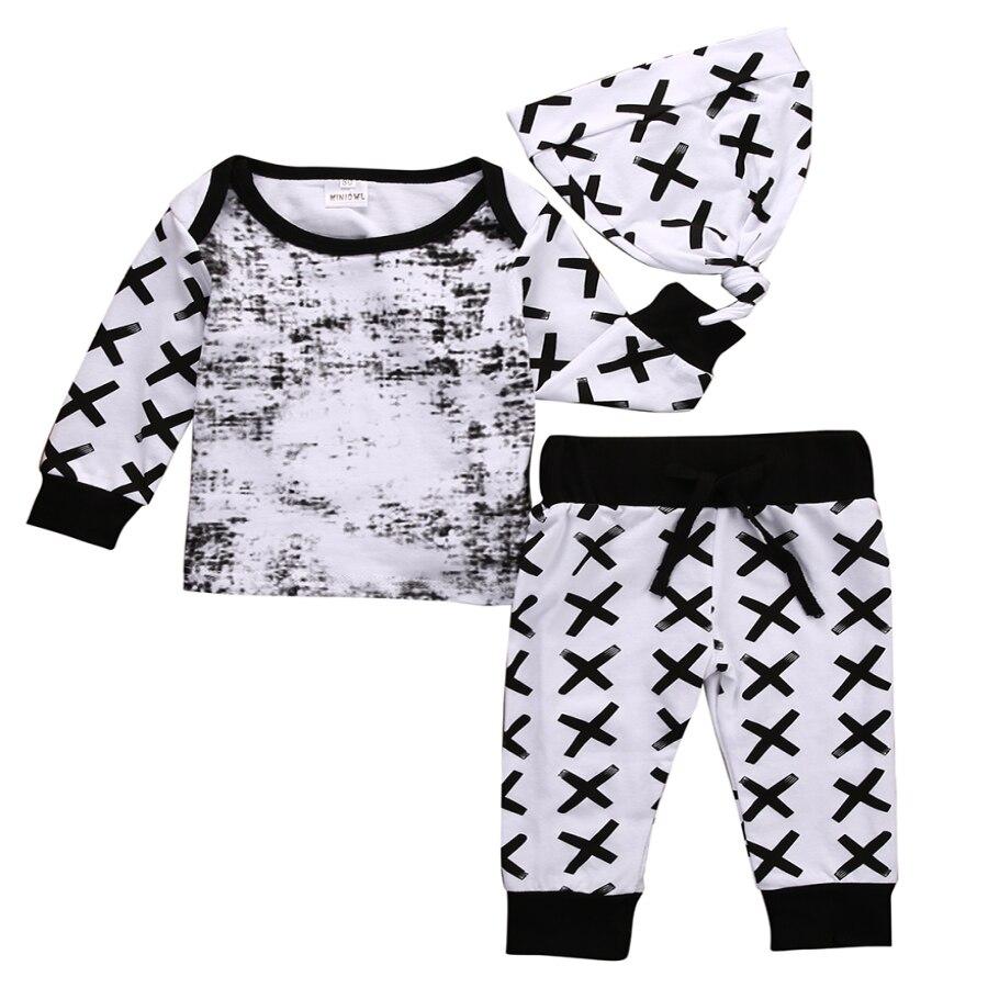 Baby 3pcs Set Newborn Infant Baby Boy Girl Clothes Geometric T-shirt Tops+Striped Long Pants Legging Outfit Set Baby Winter Coat