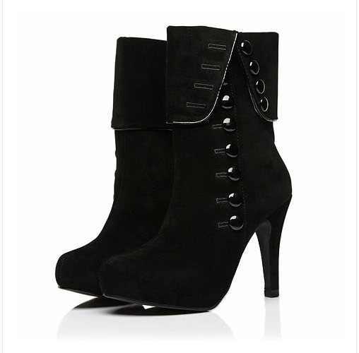 SLYXSH Moda Kadın Botları yeni siyah ayakkabı yarım çizmeler Platformu Marka Kadın Ayakkabı Sonbahar Kış Çizmeler kırmızı Artı boyutu 35-39