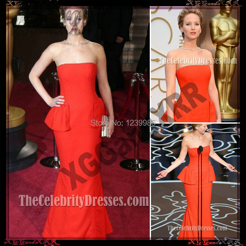ECJ002 Jennifer Lawrence Red Strapless Evening Gown 2017 Oscar Red ...