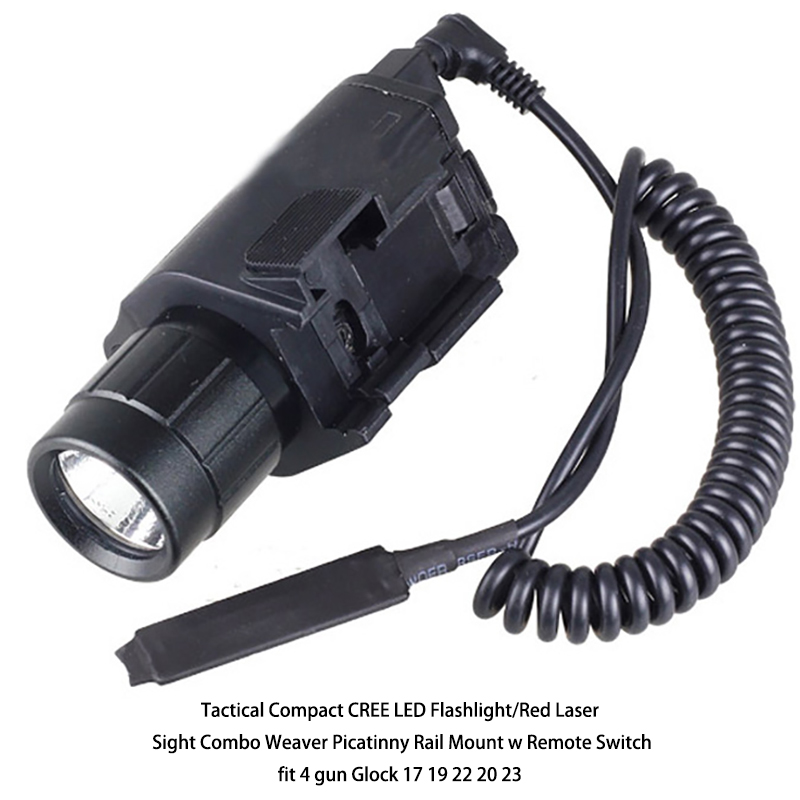 Tactical CREE LED Flashlight/Red Laser Sight Combo Weaver Picatinny Rail Mount w Remote Switch fit 4 gun 17 19 22 20 23