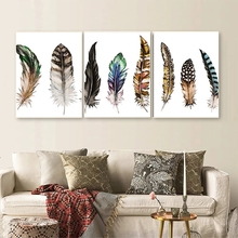 Laeacco Abstract Canvas Painting 3 Panel Watercolor Feather Posters and Prints Wall Artwork Nordic Home Living Room Decoration