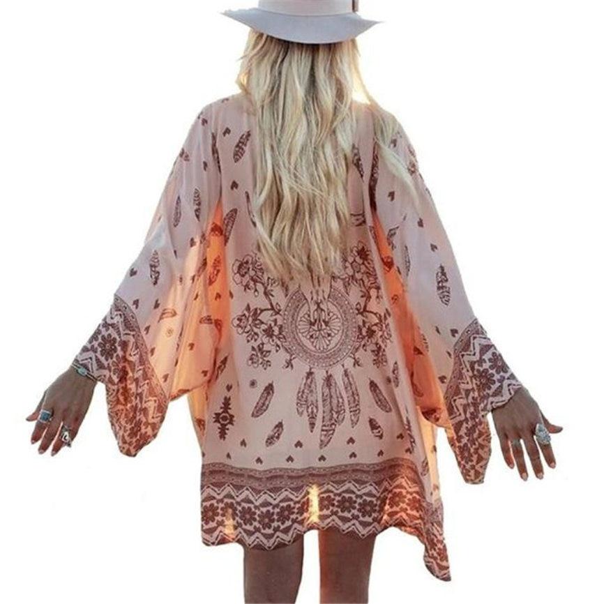 Women Boho Printed Chiffon Loose Shawl Kimono Cardigan Tops Cover up Blouse Outerwear Coat S~XL Dropshipping 823