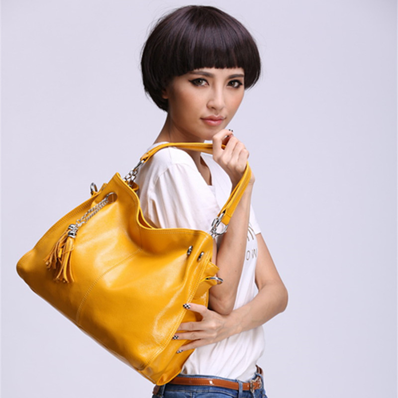 100% genuine leather Women Hobo Bag Luxury Fashion Women Handbag yellow Big Capacity Casual Tote Shoulder Bags Top-Handle bolsos 2018 quality assurance luxury genuine leather shoulder bag casual tote women handbag vintage hobo large capacity strap hand bag