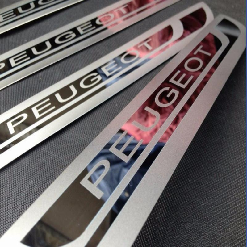 Auto Door Sill Scuff Plate Guard Welcome Pedal Stickers For Peugeot 5008 308 2008 3008 307 206 2010-2017 Car Styling Accessories dedc 4pcs car door sill scuff welcome pedal protect carbon fiber stickers accessories