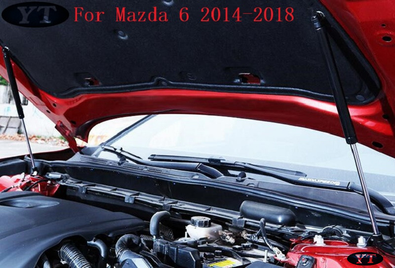 Auto <font><b>engine</b></font> <font><b>cover</b></font> support hydraulic rod hood support Poles for <font><b>Mazda</b></font> 6 <font><b>mazda</b></font> <font><b>3</b></font> 2014-2019,2pcs/lot,car accessories, free shipping image