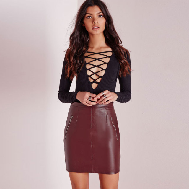 Aliexpress.com : Buy Sexy Women Bodycon Skirt PU Leather Mini ...