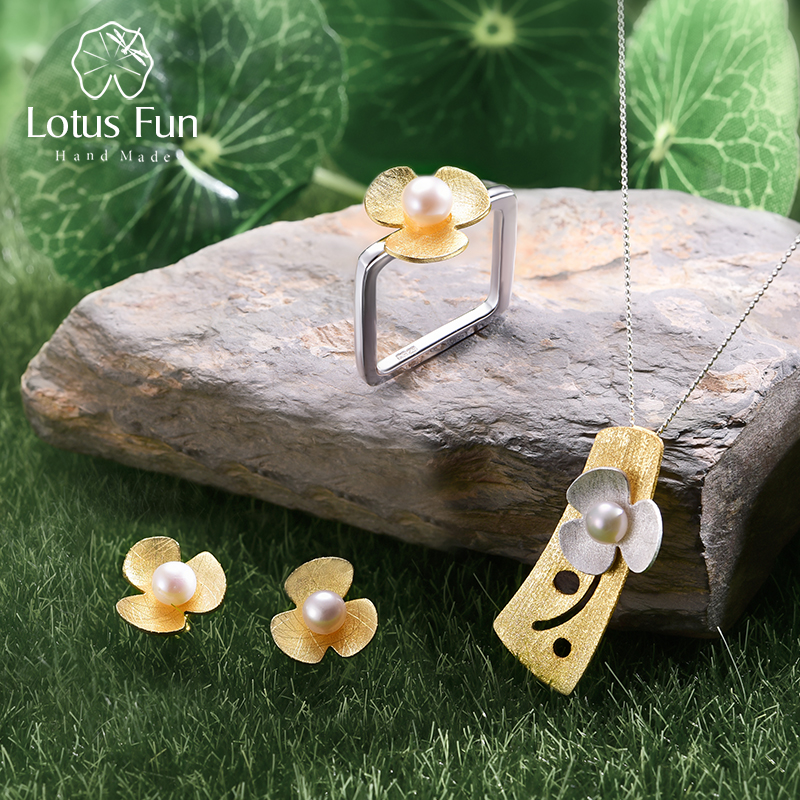 Lotus Plaisir Réel 925 En Argent Sterling Naturel Perle À La Main Fine Bijoux Carré Frais Trèfle Fleur Ensemble de Bijoux pour Femmes Bijoux