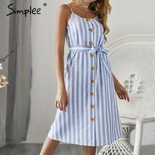 fa30bf51a77 Simplee élégant rayure imprimer femmes robe Sexy spaghetti sangle d été robe  d été bouton ceintures femme maxi longue robe vesti.