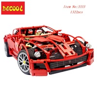 DECOOL 3333 1322pcs 1:10 super car F1 racing model blocks bricks building toys set children gifts technic 8145 Ferrari