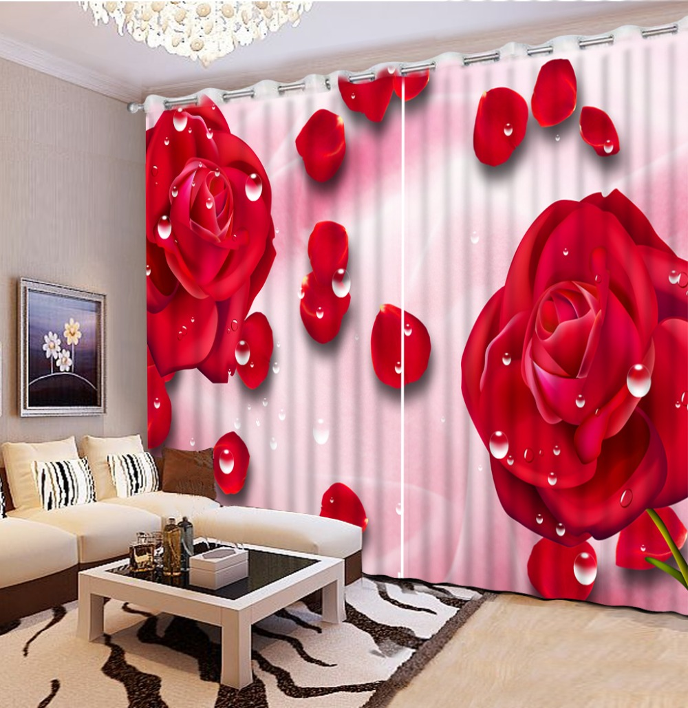 Cheap red curtains - Modern Photo Paint Blackout Sheer Curtains For Bedroom Romantic Red Rose 3d Curtains For Living Room