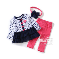 2015 lente herfst kinderen set baby meisjes kleding lange mouw t-shirts jurk + broek + hoofdbanden 3 stks sets kids kleding