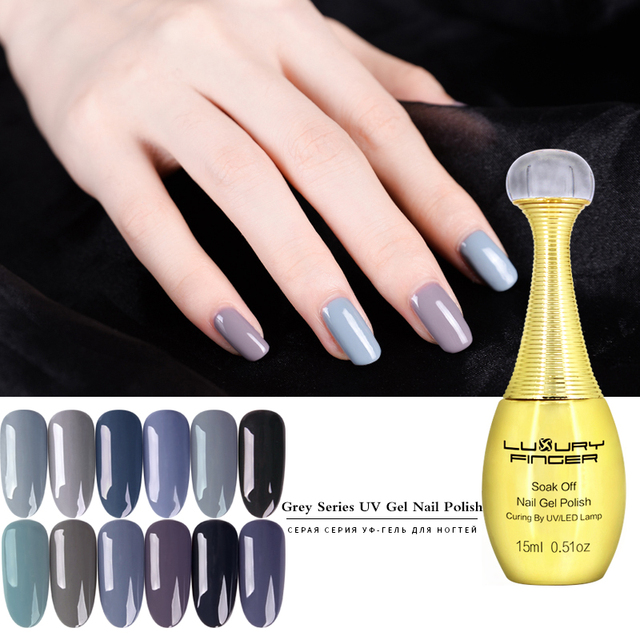 Luxury Finger 1pcs Grey Series Colors 15ML Soak Off UV Gel Nail ...
