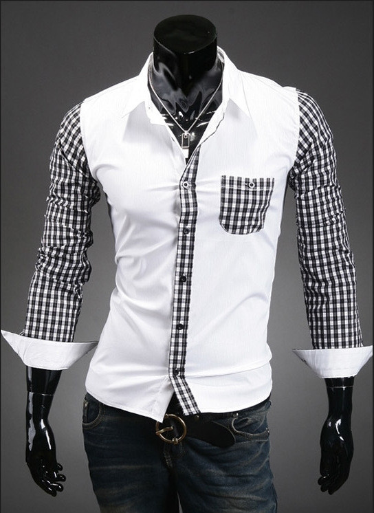 New Turn Down Collar font b Men s b font Stripe Patchwork Casual font b Shirt