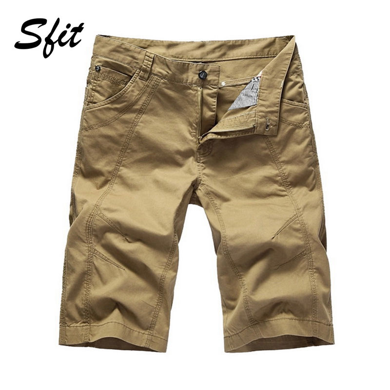 Sfit Summer Men Casual Cargo   Shorts   Tooling Knee Length Cotton Loose Sports Jogging Multi-Pocket Military Beach   Board     Shorts   New