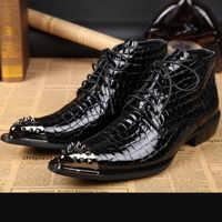 2019 uomini in pelle di serpente nero scarpe stivali invernali piattaforma militare lavoro nero moto stivali scarpe uomo tempestato di stivali da cowboy