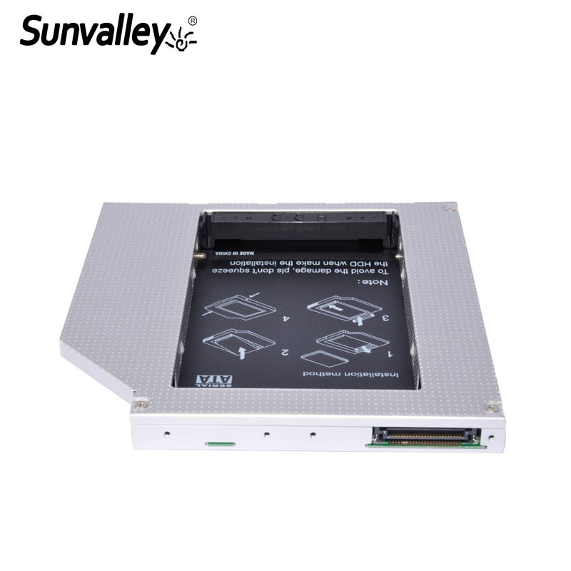 Sunvalley 12.7mm Universal Aluminum Alloy 2nd HDD Caddy IDE To SATA 2.5