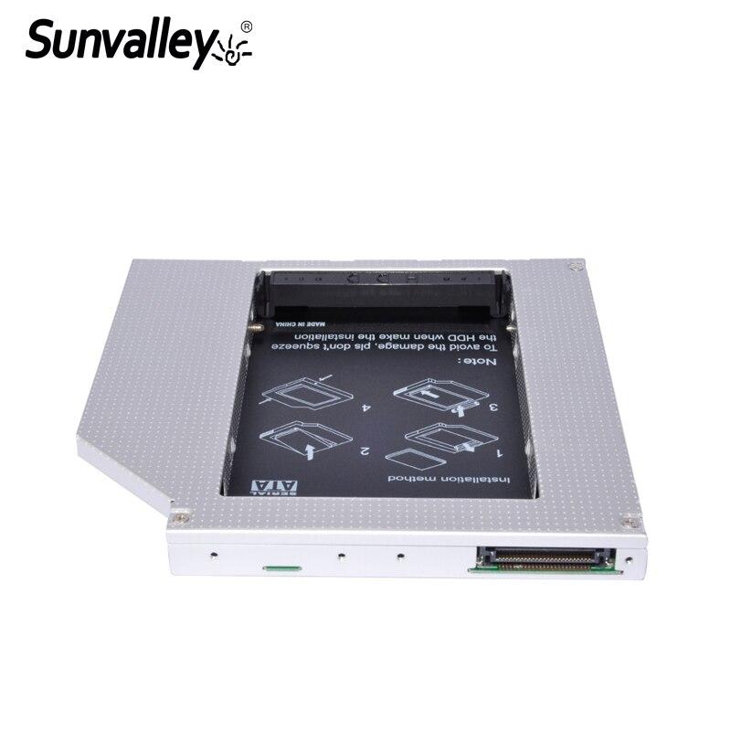 Sunvalley Universal 12,7mm aleación de aluminio de la 2nd HDD Caddy IDE a SATA 2,5 HDD SSD caja de DVD/CD-ROM óptico para el ordenador portátil