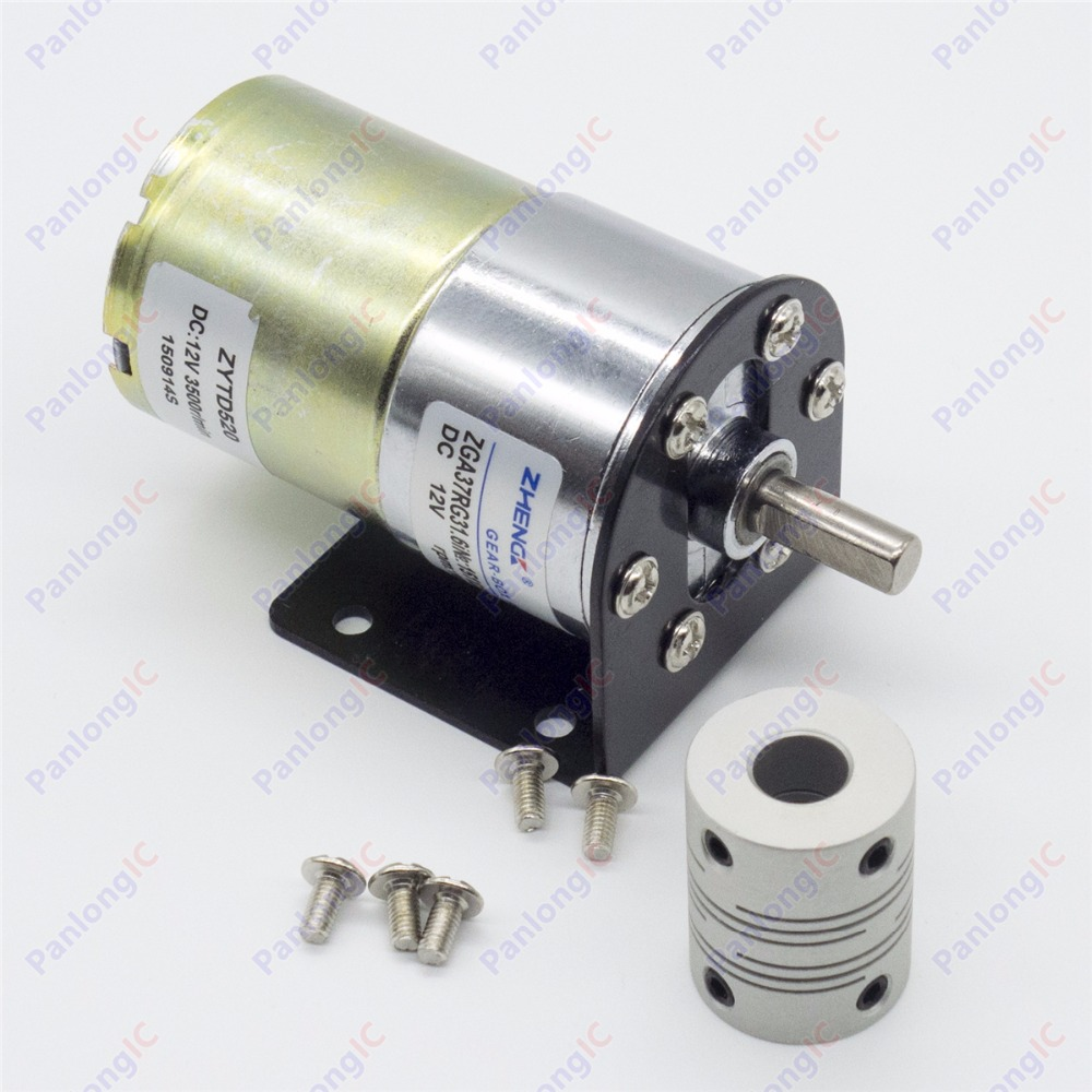 цена на ZGA37RG 12V DC 100 RPM Gear Box Motor 1/34.5 High Torque 3500RPM Reversible Motor + Motor Holder + 6mm to 8mm Flexible Coupling