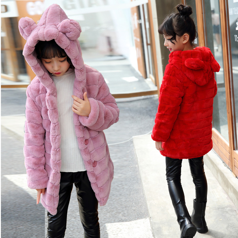Autumn Winter Baby Girls Coats Jackets Long-Sleeve Faux Fur Kids Clothing Hooded Warm Outercoat Kids Cotton Thick Outerwear P33Autumn Winter Baby Girls Coats Jackets Long-Sleeve Faux Fur Kids Clothing Hooded Warm Outercoat Kids Cotton Thick Outerwear P33