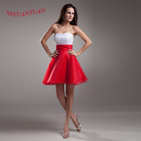 2016 Custom Made Charming Organza Party Gown Sweetheart A Line Beaded Cocktail Dress 2016 Short vestidos de cocktail W22612