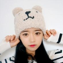 Kesebi 2017 New Hot Fashion Autumn Winter Female Warm Knitting Cute Caps Hats Women Korean Embroidered Bear Skullies Beanies