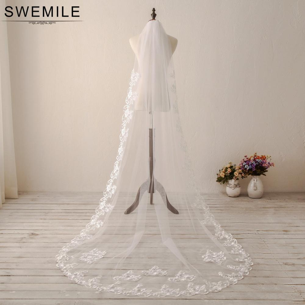 SWEMILE Voile Mariage 3M Lace Cathedral Wedding Veil White Ivory One Layer Long Bridal Veil Veu De Noiva Wedding Accessories