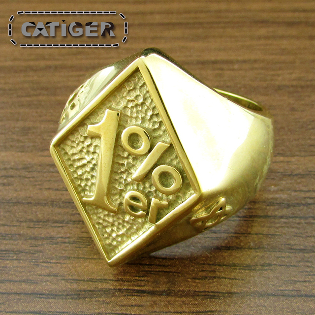 Punk Gold Color 316L Stainless Steel 1 er Biker Ring Men Punk