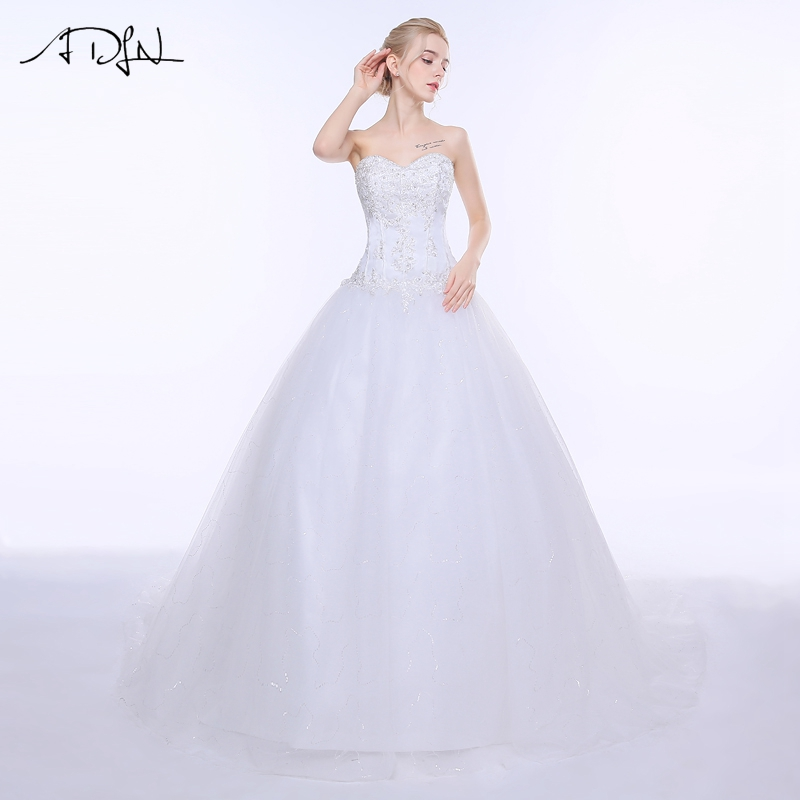 ADLN Wedding Dresses Vestidos de Novia Off the Shoulder Sweetheart Tulle Long Bride Dress Lace Up Back Plus Size In Stock 12
