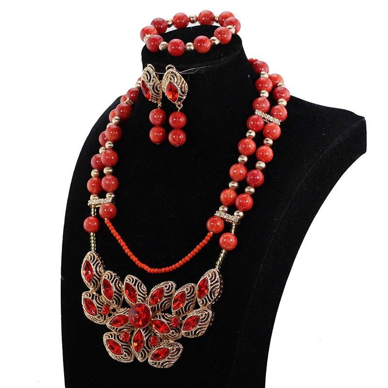 Ensemble de collier de perles de corail Orange ensemble de bijoux pendentif fleur rose livraison gratuite PJW113