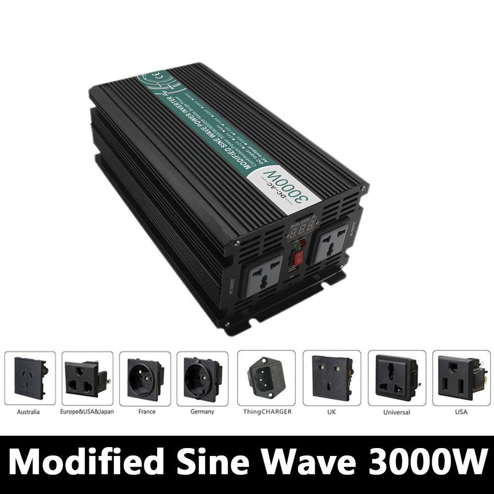3000W Modified Sine Wave Inverter,DC 12V/24V/48V To AC 110V/220V,off Grid Solar Power Inverter,voltage converter work Battery solar grid 3000w inverter power supply 12v 24v dc to ac 220v 240v pure sine wave solar power 3000w inverter reliable generator