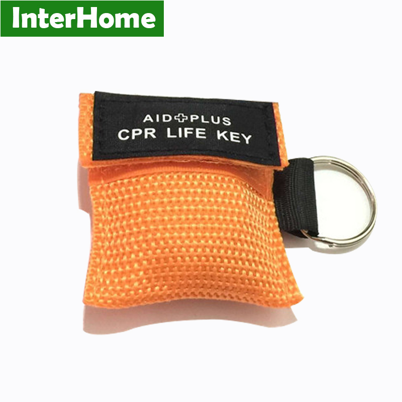50 Pieces CPR Keychain Mask CPR Life Key Rescue Mask Shield With One way Valve For